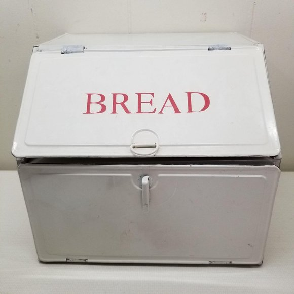 Metal Enamel Bread Box Country Farmhouse Chic Home